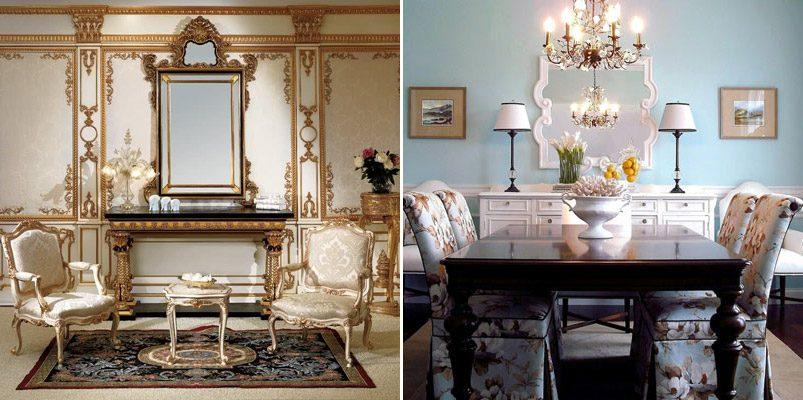 Ideas para las paredes de un espacio cl sico - Decoracion con espejos en paredes ...