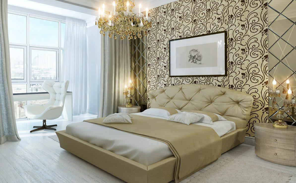 Papel pintado para un dormitorio de lujo Imgenes y fotos