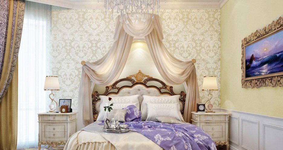 Papel pintado romántico para un dormitorio :: Imágenes y fotos