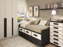 habitaciones grises y blancas Habitacin Juvenil En Marrn Blanco Y Gris Imgenes Y Fotos